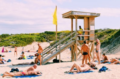 Gay Travel Ibiza Sexy Gay Men at Ibiza Gay Beach | Gay Couple Travel Gay Beach Ibiza Town Spain © CoupleofMen.com