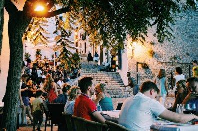 Dinner at Plaça del Sol Restaurant | Gay Couple Travel Gay Beach Ibiza Town Spain © CoupleofMen.com