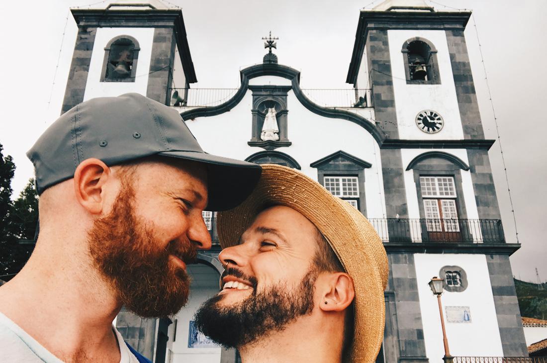 Selfie in front of the Igreja do Monte in Funchal, Madeira © CoupleofMen.com