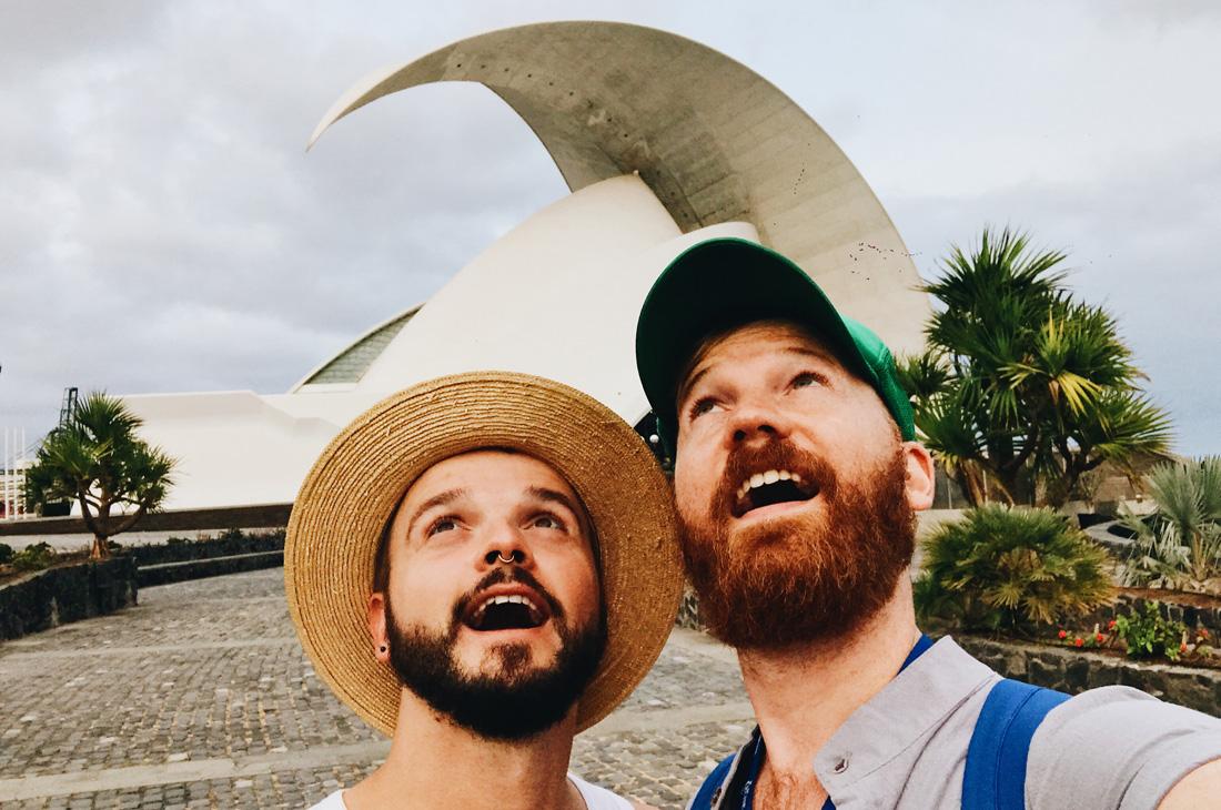 """Gay Selfie in front of the Auditorio de Tenerife """"Adán Martín"""" © CoupleofMen.com"""