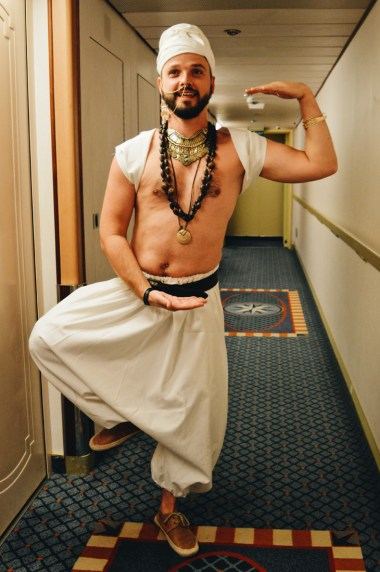 Karl in his outfit for the 1st Party of The Cruise | Gay Couple Travel Diary The Cruise 2017 © CoupleofMen.com