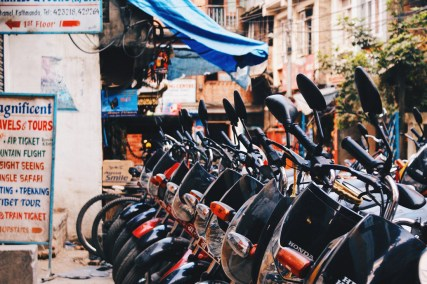 Renting a motor cycle in the old town of Kathmandu | Gay Travel Nepal Photo Story Himalayas © Coupleofmen.com