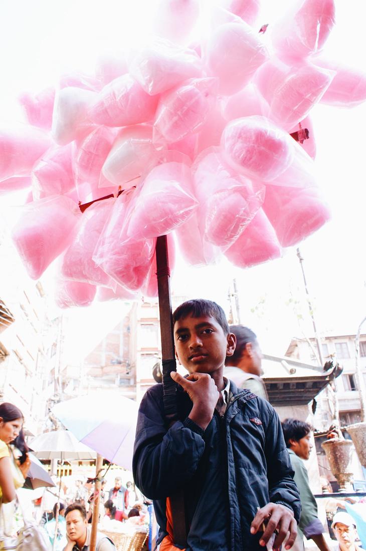 Boy selling cotton candy in Kathmandu | Gay Travel Nepal Photo Story Himalayas © Coupleofmen.com