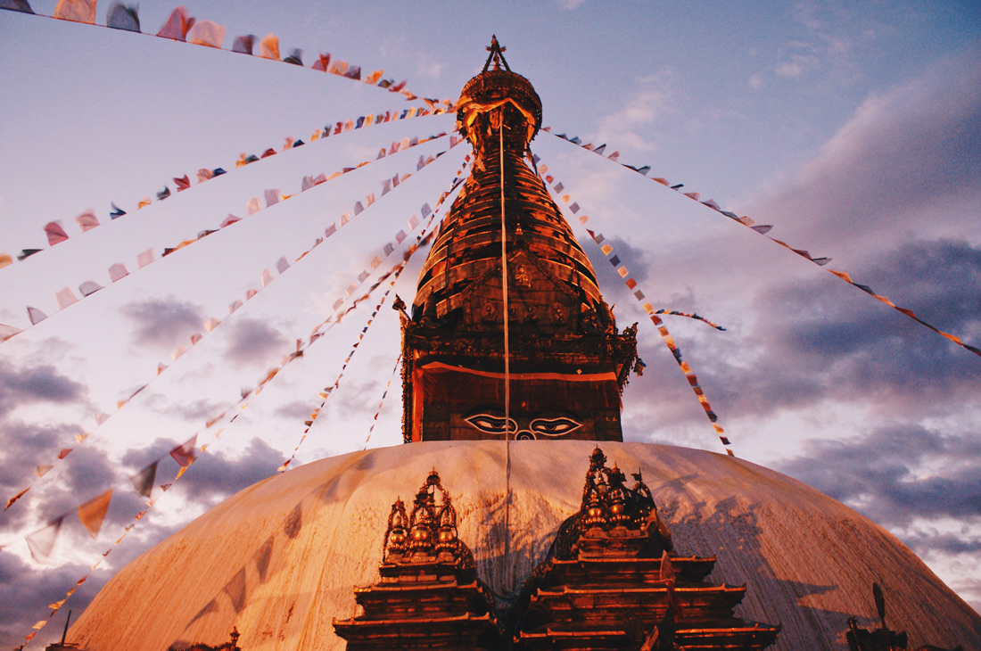 Sunset at Swayambhunath - Monkey Temple complex | Gay Travel Nepal Photo Story Himalayas © Coupleofmen.com
