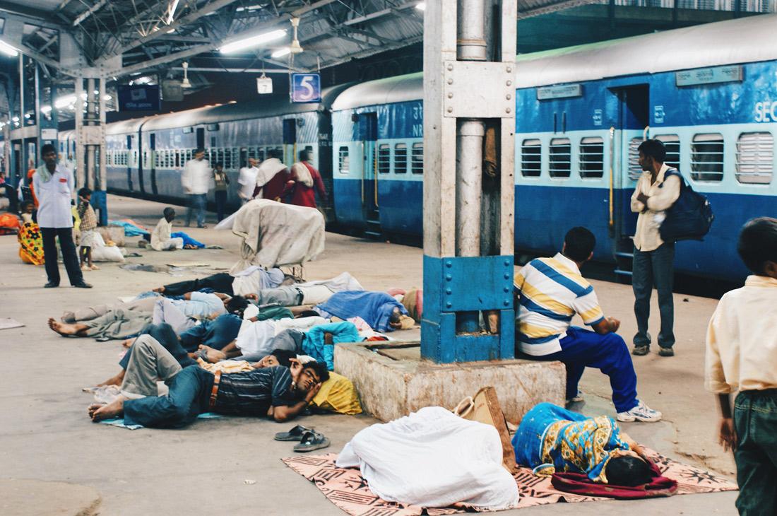 Sleeping travelers at Train Station Varanasi | Gay Travel Nepal Photo Story Himalayas © CoupleofMen.com
