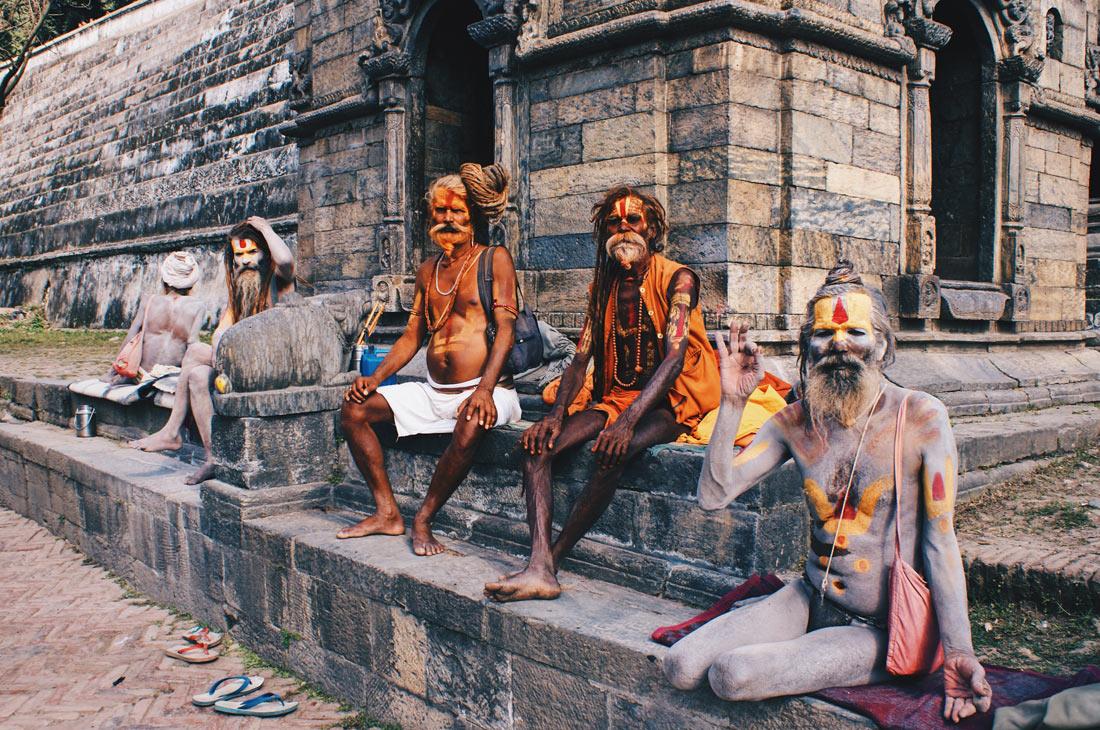 Praying Sadhus by the River Bagmati | Gay Travel Nepal Photo Story Himalayas © Coupleofmen.com