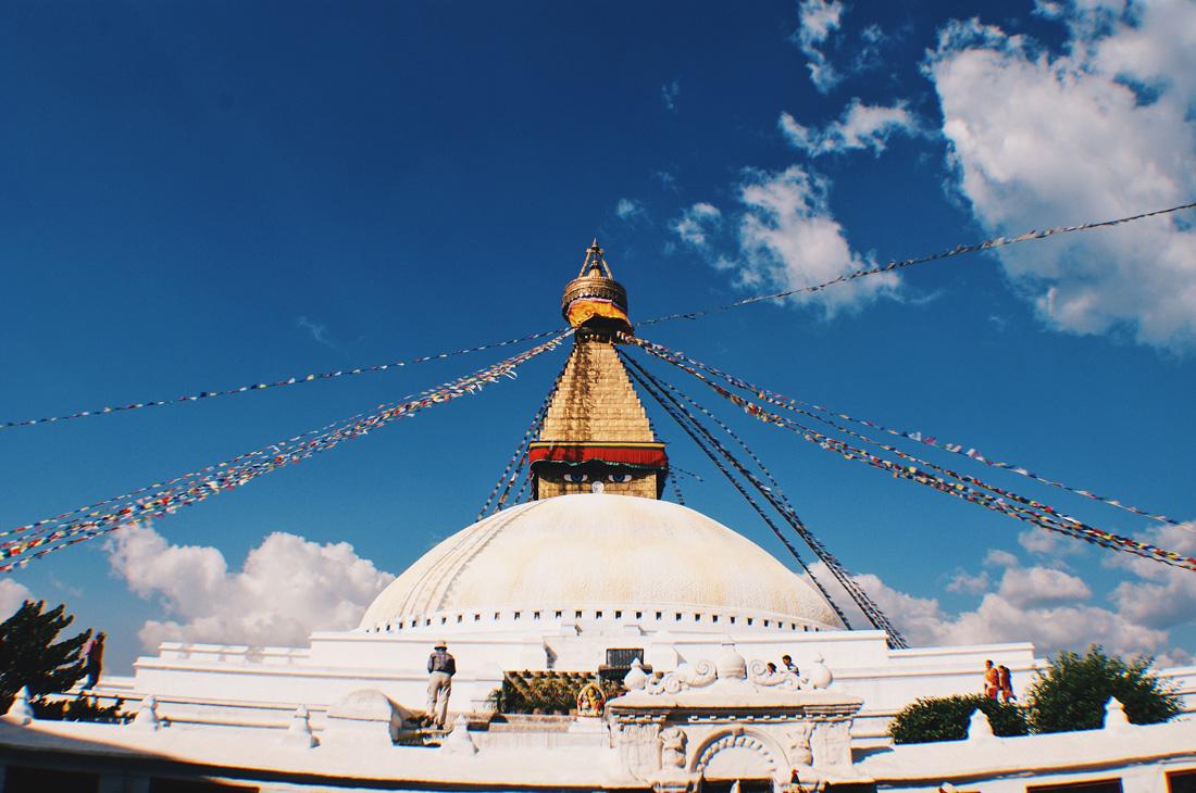 Total elevation of the white Boudhanath Stupa | Gay Travel Nepal Photo Story Himalayas © Coupleofmen.com
