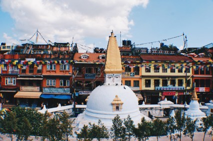 Elevation of the white Boudhanath Stupa | Gay Travel Nepal Photo Story Himalayas © Coupleofmen.com