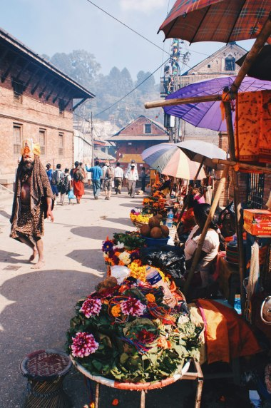 Flower arrangements and a colorful Sadhu | Gay Travel Nepal Photo Story Himalayas © Coupleofmen.com
