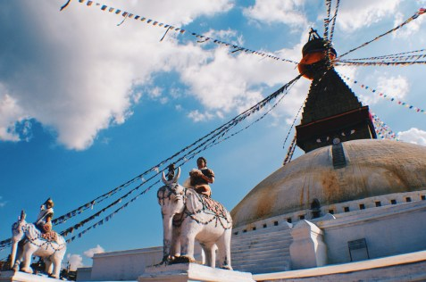 White elefants uner blue sky of the Boudhanath Stupa   Gay Travel Nepal Photo Story Himalayas © Coupleofmen.com