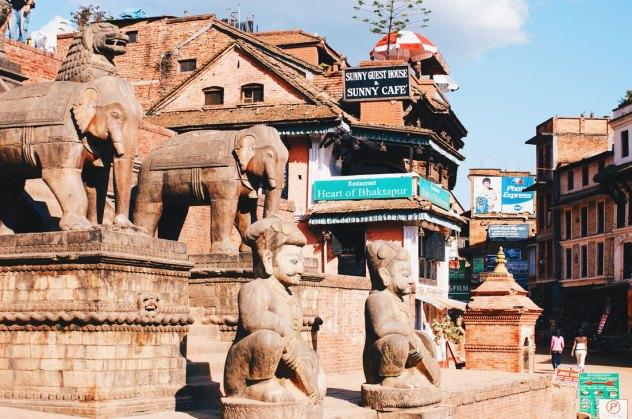 Statues at the Stairways of the Nyatapola-Temple in Bhaktapur   Gay Travel Nepal Photo Story Himalayas © Coupleofmen.com