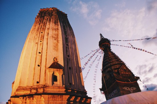 Buddha Stupa and Hindu Tower   Gay Travel Nepal Photo Story Himalayas © Coupleofmen.com