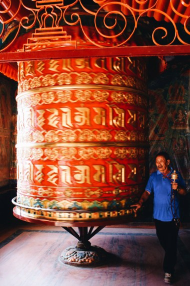 Big red Prayers Mill at Boudhanath Stupa | Gay Travel Nepal Photo Story Himalayas © Coupleofmen.com