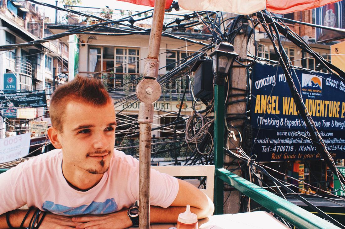 Karl having a break over the roofs of Kathmandu | Gay Travel Nepal Photo Story Himalayas © Coupleofmen.com