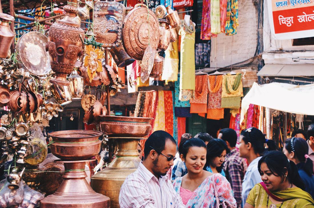 Copper Dishware on a market in Kathmandu | Gay Travel Nepal Photo Story Himalayas © Coupleofmen.com