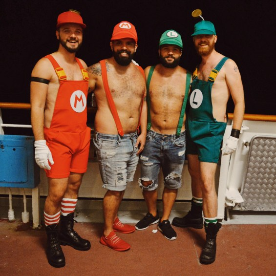 Making new friends from Costa Rica: Super Mario Brothers! | Gay Couple Travel Diary The Cruise 2017 © CoupleofMen.com
