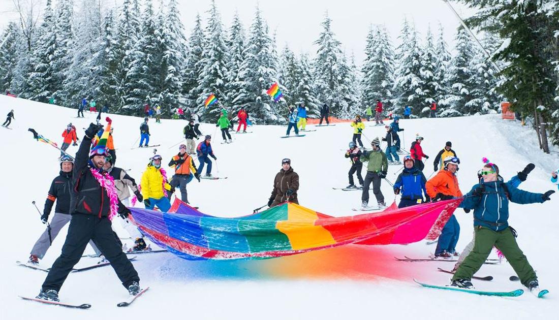 Rainbow flag over the slopes of Whistler Blackcomb | Whistler Pride Ski Festival 2018