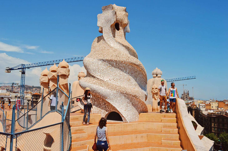 Gay Travel Guide: Organic Modernism of Gaudi's architecture at Casa Milà (La Pedrera)