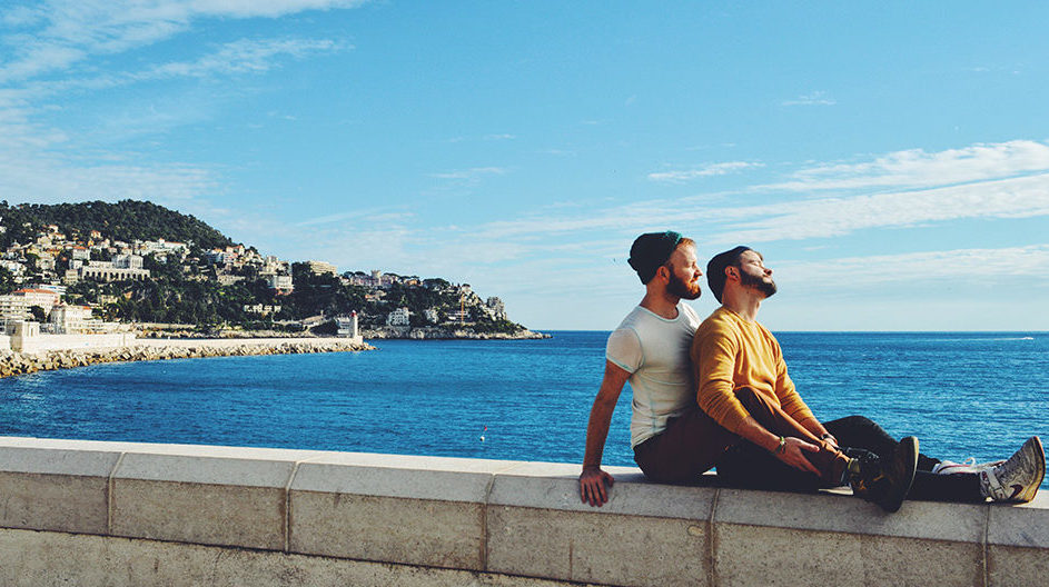 Gay Couple Travel France City Weekend Nice View over the harbor of City of Nice with a gay couple posing Gay Couple City Weekend Nice © CoupleofMen.com