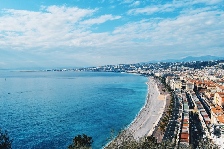 Gay Couple Travel France City Weekend Nice View of the beach and City of Nice from the castle hill Gay Couple City Weekend Nice © CoupleofMen.com