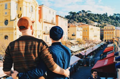 Gay Couple Travel France City Weekend Nice View of the harbor of Marcher du Fleurs (Flower market) of the City of Nice - Gay Couple City Weekend Nice © CoupleofMen.com
