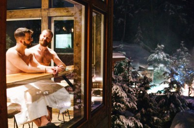 Spending a relaxing night at Scandinave Spa Whistler | Zip Lining Snowmobiling TAG Whistler Gay-friendly © Coupleofmen.com