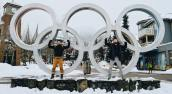 Gay Super Powers in front of the Olympic Rings in Whistler | Whistler Pride 2018 Gay Ski Week © Coupleofmen.com