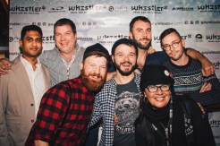 Here we are all together: Matt Skallerud, John Halbach, Kit Williamson, Barb Snelgrove and Karl & Daan from Couple of Men | Whistler Pride 2018 Gay Ski Week © Darnell Collins