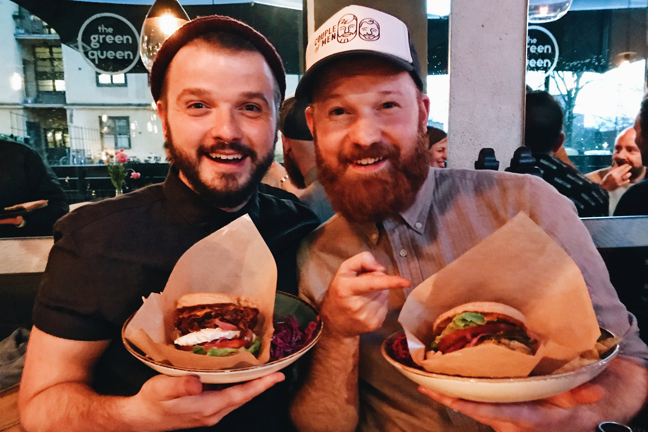 THE BEST VEGAN BURGER in town at The Green Queen | Gay Travel Tips for EuroPride 2018 Stockholm © Coupleofmen.com