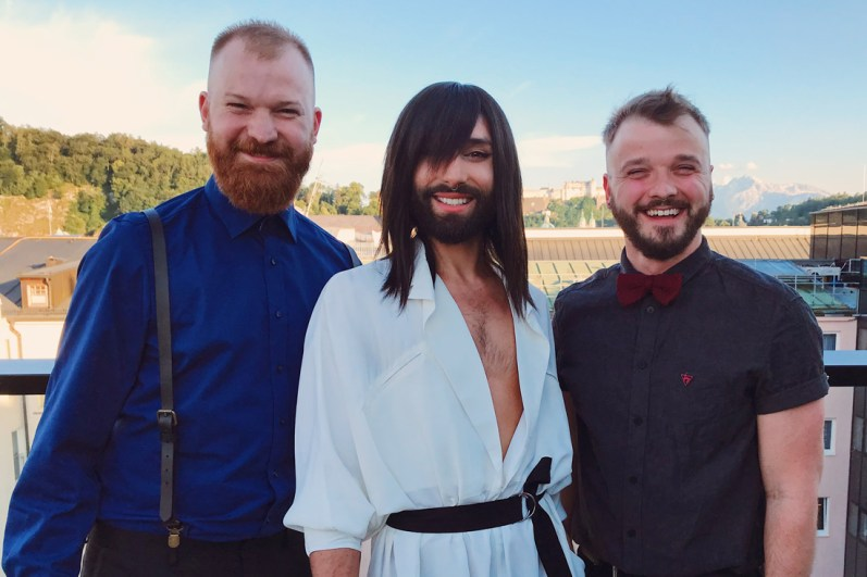 Gay Städtetrip Salzburg What a great moment meeting the Austrian Drag Star Conchita on the roof top of the Imlauer Pitter Hotel | Travel Salzburg Gay Couple City Trip © coupleofmen.com