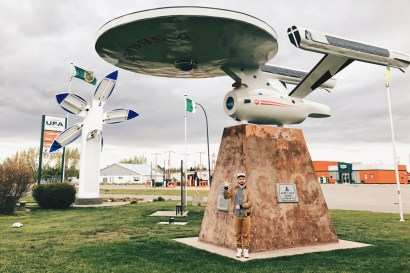 Giant Enterprise Star Ship in Alberta's town Vulkan | Road Trip Edmonton Northern Alberta © Coupleofmen.com