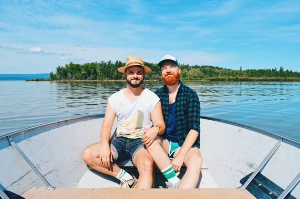 Gay Selfie of our boat tour to Dog Island at Lesser Slave Lake | Road Trip Edmonton Northern Alberta © Coupleofmen.com