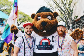 Gay Pride Parade Edmonton Canada Beaver Selfie during the Gay Pride Parade | Gay Edmonton Pride Festival © Coupleofmen.com