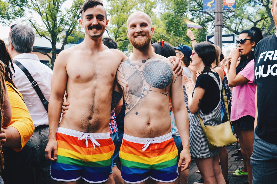 Gay Pride Parade Edmonton Canada Sporty Gays in Rainbow shorts | Gay Edmonton Pride Festival © Coupleofmen.com
