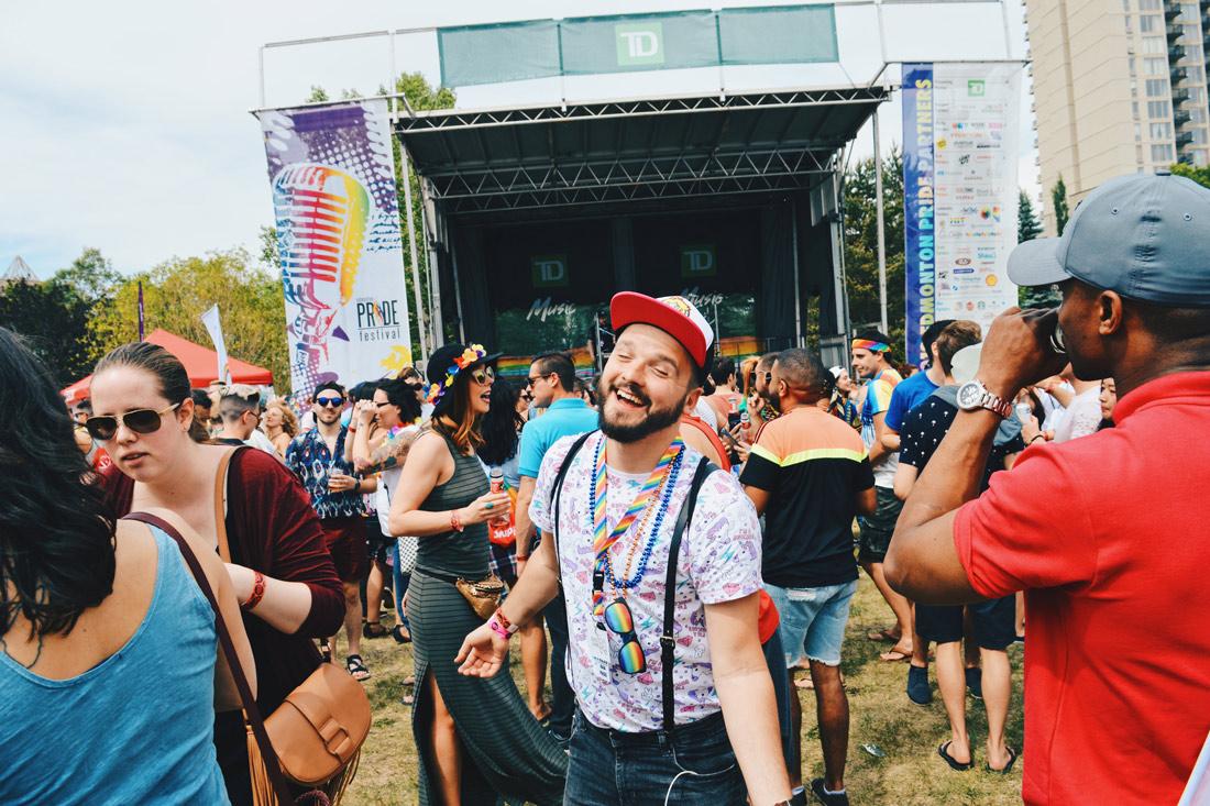 Gay Pride Parade Edmonton Canada Dancing the rain clouds away at Edmonton Pride Festival | Gay Edmonton Pride Festival © Coupleofmen.com