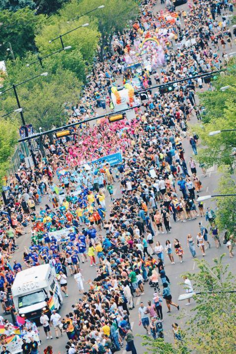 Pride Parade on Whyte Avenue Edmonton from a bird's eye perspective | Gay Edmonton Pride Festival © Coupleofmen.com