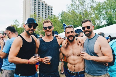 Half naked Candian bears at Pride in the Park | Gay Edmonton Pride Festival © Coupleofmen.com