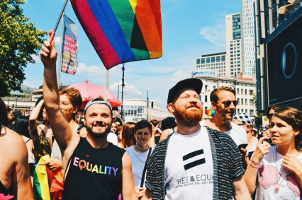 Waving proudly the Rainbow Flag during CSD Berlin Gay Pride 2018 © Coupleofmen.com