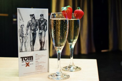 Tom of Finland Experience: Start with a Strawberry decorated Prosecco | Klaus K Hotel Helsinki Gay-friendly Tom of Finland Package © Coupleofmen.com