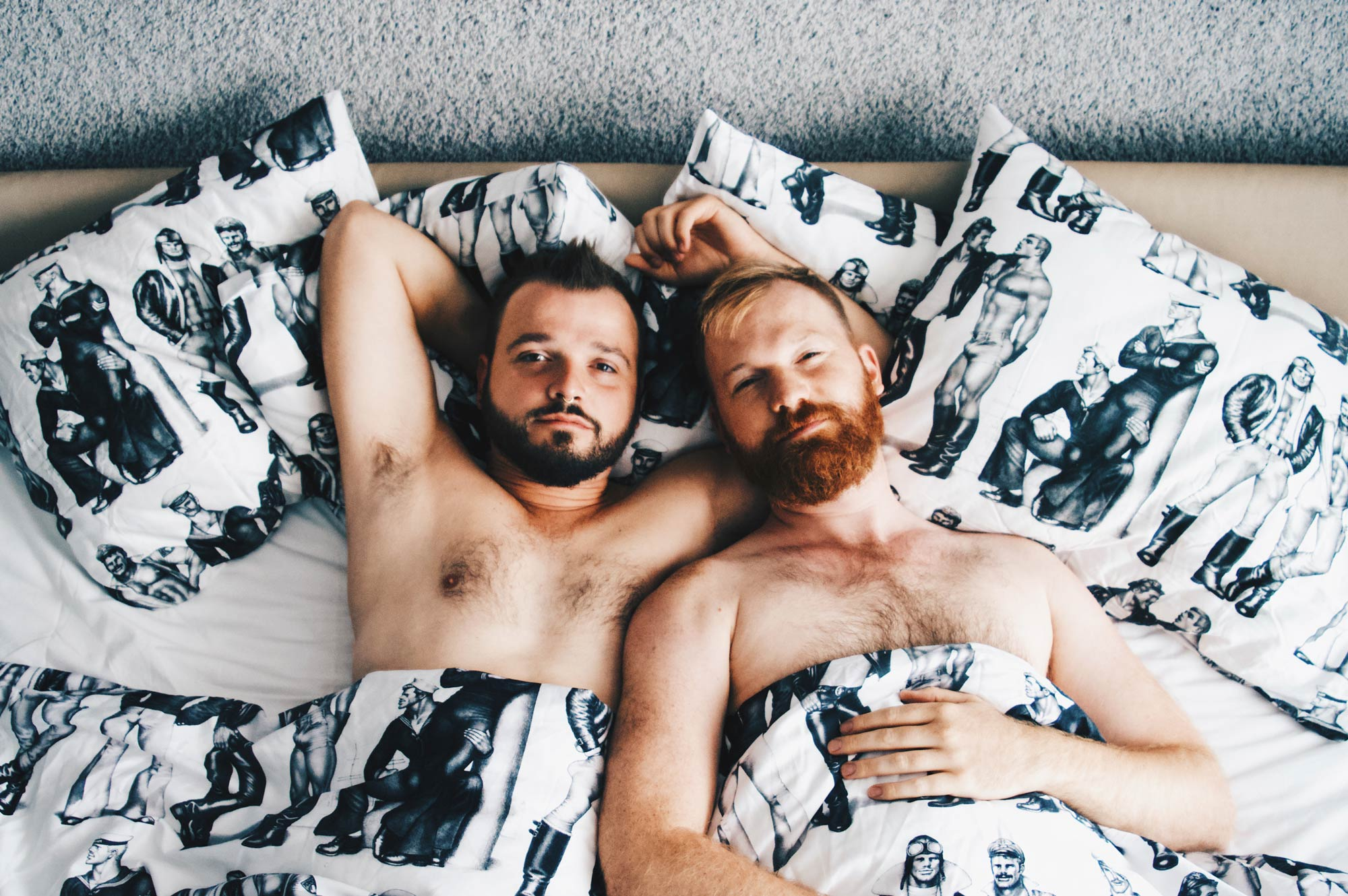 sexy naked couple of men Gay Travel Blogger half naked Good morning out of our Tom of Finland bed | Klaus K Hotel Helsinki Gay-friendly Tom of Finland Package © Coupleofmen.com
