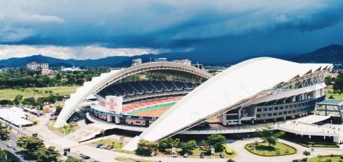 Gay Travel Journal Costa Rica Football Stadium Estadio Nacional de Costa Rica in San José with an arriving thunderstorm | Gay-friendly Costa Rica © Coupleofmen.com