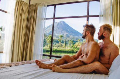 Gay Travel Journal Costa Rica What a morning view at our gay-friendly hotel Montana de Fuego in La Fortuna | Gay-friendly Costa Rica © Coupleofmen.com