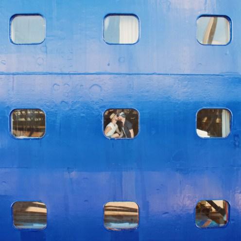A Gay Kiss in our Ocean View Stateroom 5055 at the Pullmantur Ship MV Zenith | European Gay Cruise by Open Sea Cruises x Axel © Coupleofmen.com