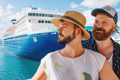Boat-Gay-Selfie in front of the MV Zenith by Pullmanturs | Gay Cruise by Open Sea Cruises © Coupleofmen.com