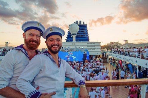 Two Gay Sailor Men enjoying the European Gay Cruise by Open Sea Cruises x Axel © Coupleofmen.com