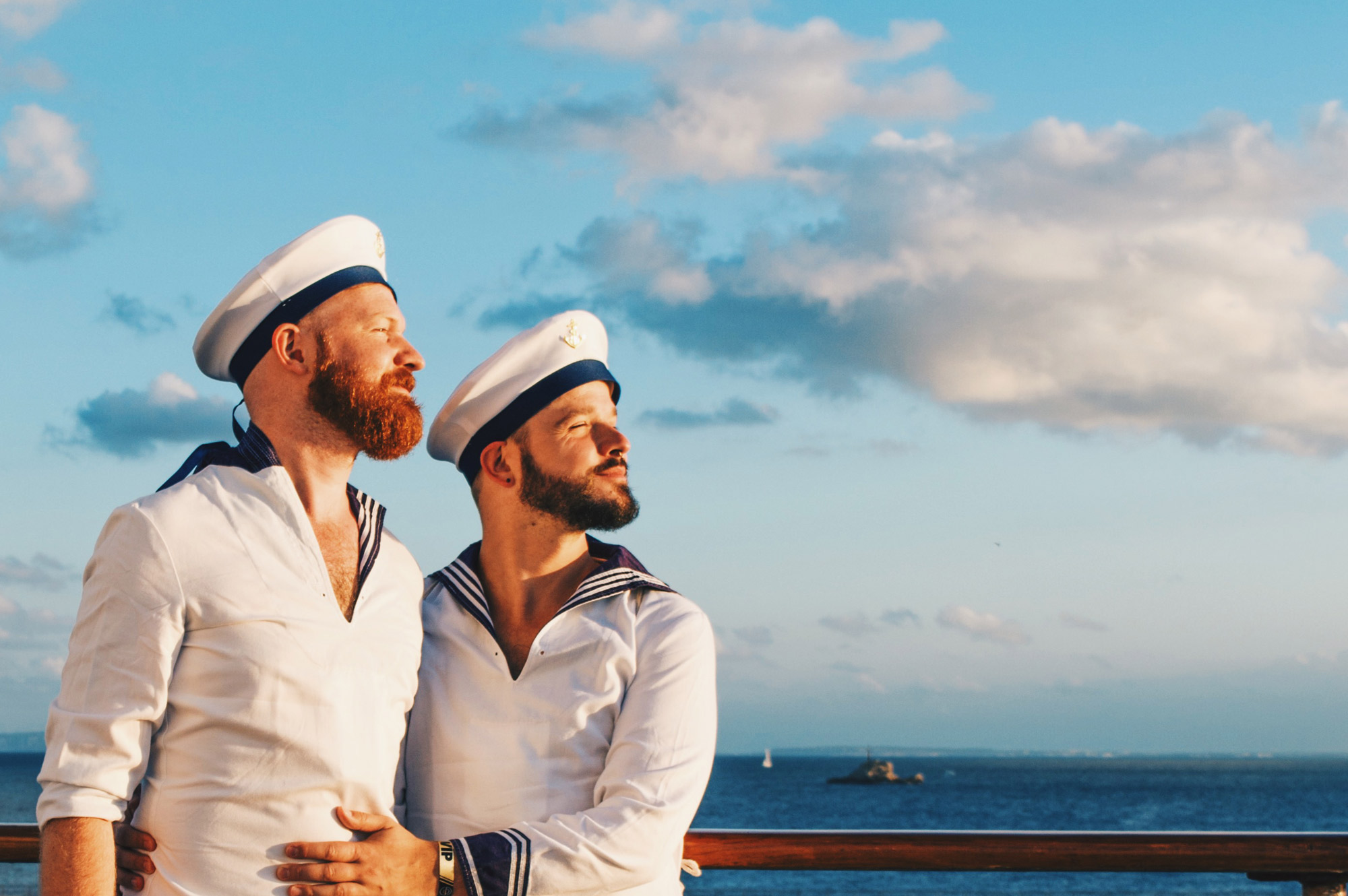 We love to be dressed as sailor men for our 1st Gay Cruise by Open Sea Cruises x Axel © Coupleofmen.com