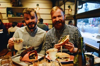 Karl & Daan having dinner at Restaurant Cibo Calgary   Winter Road Trip Alberta Highlights Canadian Rocky Mountains © Coupleofmen.com