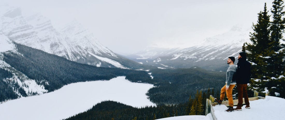 Merry Christmas and Happy Holidays! Enjoying the view over Peyto Lake | Winter Road Trip Alberta Highlights Canadian Rocky Mountains © Coupleofmen.com