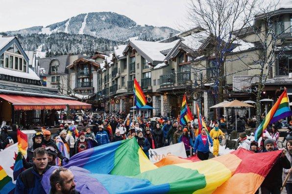 Whistler Pride Ski Festival Whistler Pride Gay Skiwoche Whistler Pride and Ski Festival 2019 Parade through Whistler Village Center © Coupleofmen.com