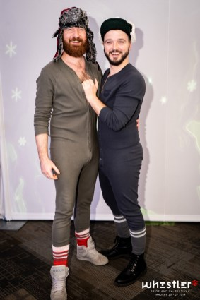 Whistler Pride Ski Festival Whistler Pride Gay Skiwoche Our outfits for the 2019 edition of Snowball: Cozy Onesies and huts to stay warm © Whistler Pride/ Photo by Darnell Collins